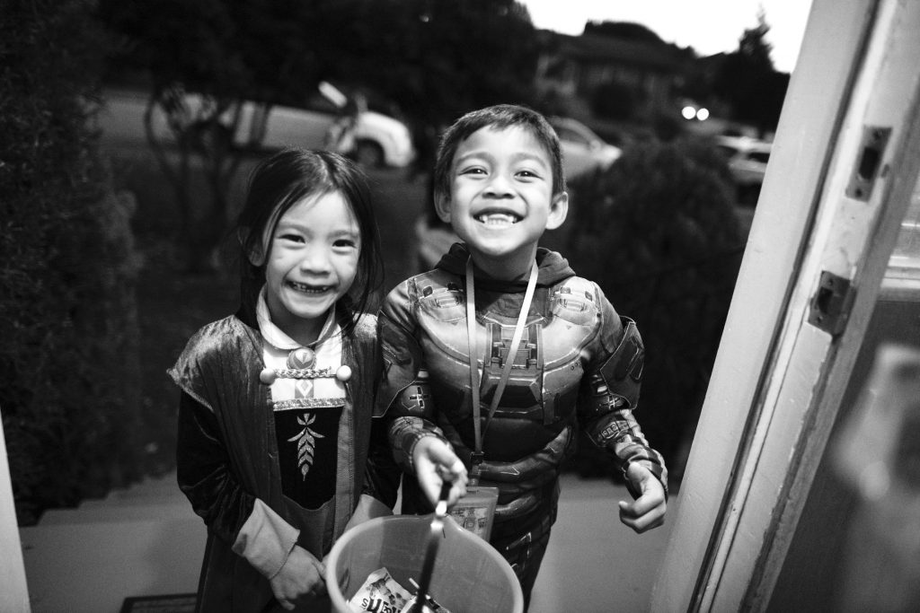 two children dressed up for Hallowe'en