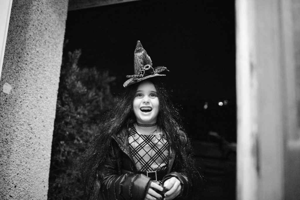 Girl dressed as witch