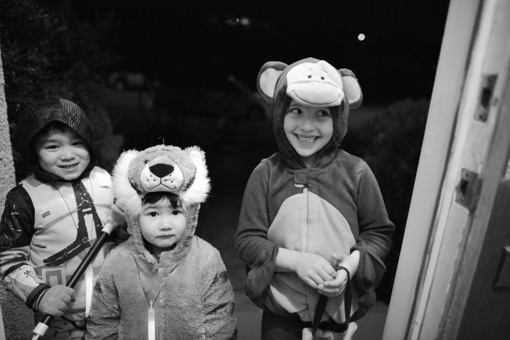 Three children dressed for Hallowe'en